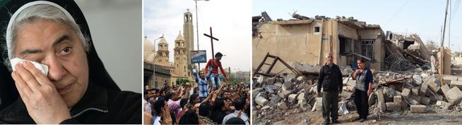 Bilder zerstörter Kirchen und verfolgter Christinnen und Christen