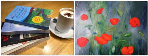Bücher, Kaffee und ein Bild mit Mohnblumen.