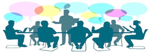 Grafik zeigt Menschen, die im Gespräch um einen Tisch sitzen.