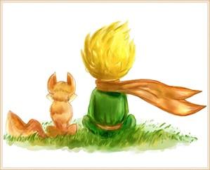 Kleine Prinz und Fuchs sitzen zusammen